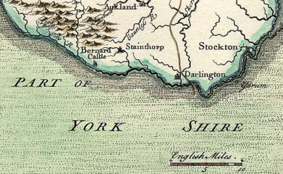 """The market town of Stainthorp (Staindrop), in """"A Map of the BISHOPRICK of DURHAM North from London"""" by T. Badeslade and W.H. Toms, 1741."""