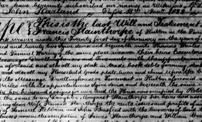Section of Francis Stainthorp's will, held in the Borthwick Institute in York