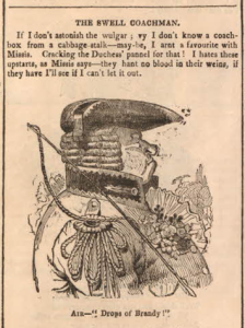 Caricature of the swell coachman, 1832