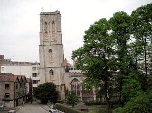 The ruins of Temple Church, Redcliffe, Bristol. 'The Leaning Tower of Bristol', its west tower has leaned 2.7° away from the vertical ever since its initial construction on soft clay in the 15th century. © Copyright Matt Gibson and licensed for reuse under this Creative Commons Licence.