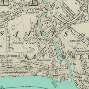 Map of Ouseburn, Newcastle. Ordnance Survey six-inch map of Northumberland (sheet XCVII), 1864. Reproduced with the permission of the National Library of Scotland.
